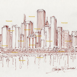 Chicago skyline pen & ink drawing of east Randolph Street 871.