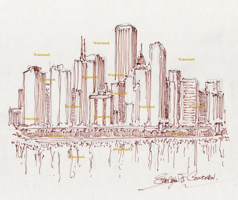 Chicago skyline pen & inks