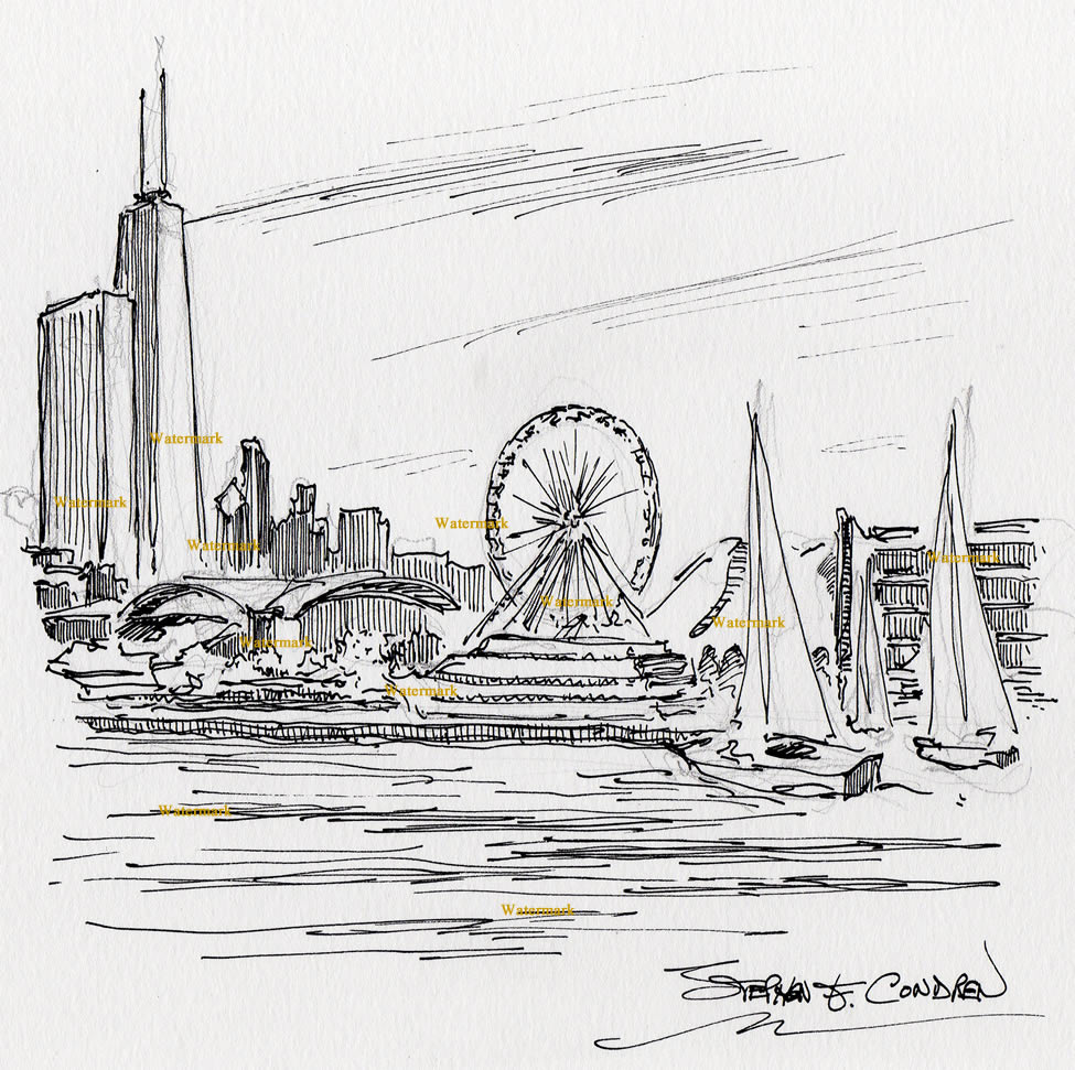 Chicago Navy Pier pen & ink drawing with Chicago skyline.