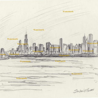 Chicago skyline pencil drawing of downtown skyscrapers.