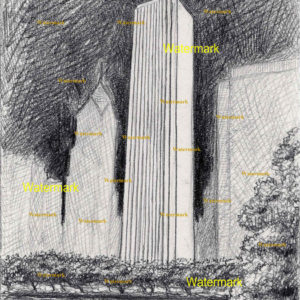 Pencil drawing of the AON Center in Chicago