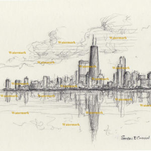 Pencil drawings and prints of Chicago skyline