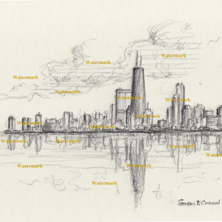 Chicago skyline #733A pencil cityscape drawing with a view of the John Hancock Center.
