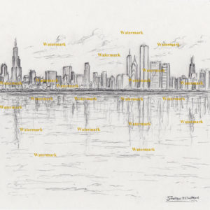 Pencil drawings and prints of Chicago skyline from Burnham Harbor