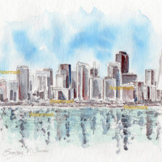 San Francisco skyline watercolor of towering downtown skyscrapers.