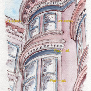 Detailed watercolor painting of a painted lady apartment building in San Francisco.