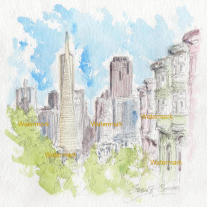 Watercolor street scene of San Francisco overlooking Transamerica Pyramid.