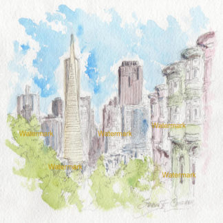 San Francisco skyline #885A pen & ink city scene watercolor with view of Transamerica Pyramid.