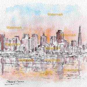 San Francisco skyline watercolor of downtown at sunset.