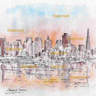San Francisco skyline #948A pen & ink cityscape watercolor is popular because of it's view of at sunset.
