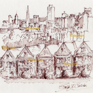 Pen & ink drawing of painted ladies in San Francisco