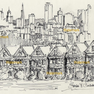 Black pen & ink drawings of painted ladies in San Francisco
