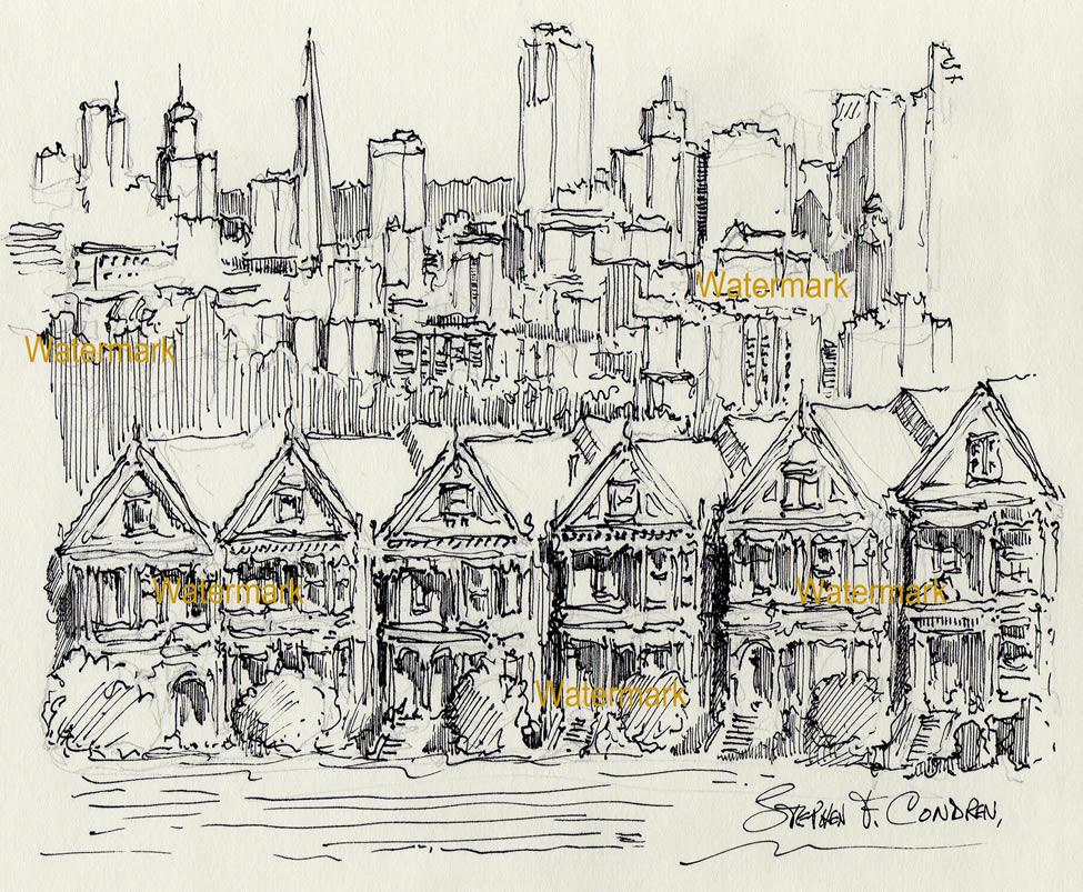 San Francisco skyline pen & ink drawing of Alamo Square.
