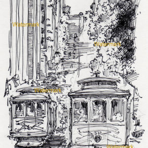 Pen & ink drawing of a San Francisco street scene with people riding on trolleys.