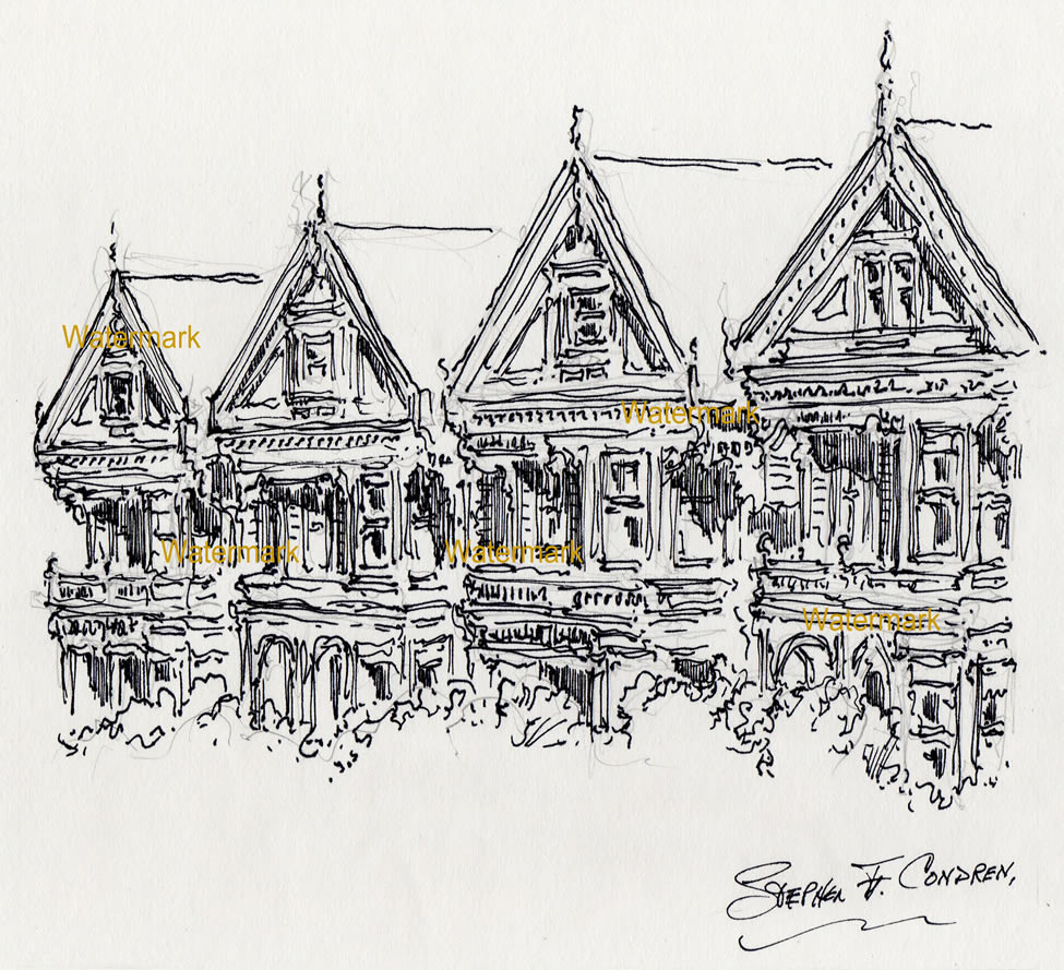 San Francisco pen & ink drawing of painted ladies on Alamo Square.