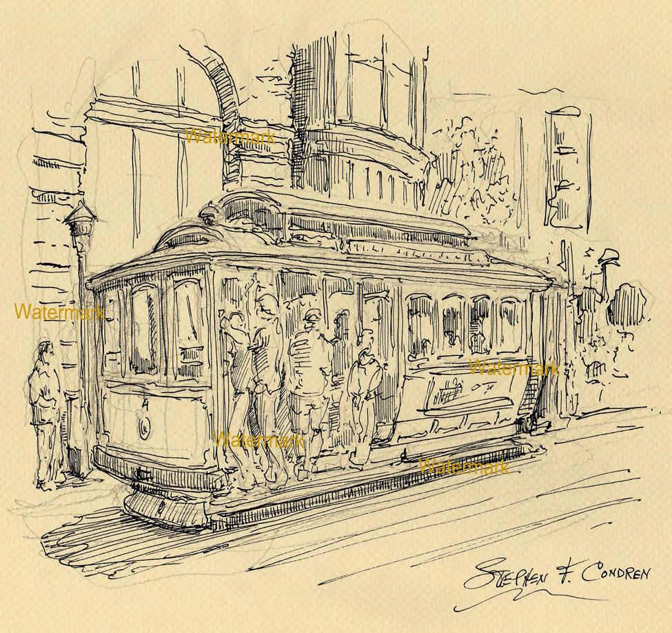 Fine Line Art : Pen ink fine line drawing of a san francisco trolley car