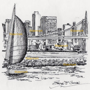 Pen & ink drawings and prints of San Francisco skyline and Bay.
