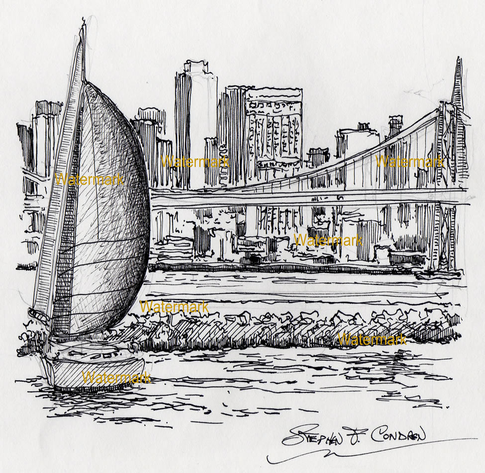 San Francisco skyline pen & ink drawing overlooking the bay.