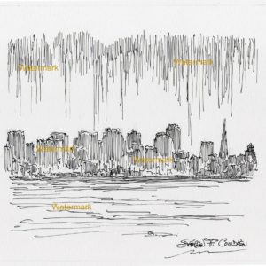 Pen & ink drawings and prints of San Francisco skyline from the Bay.