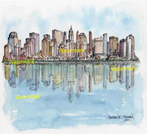 Lower Manhattan skyline watercolor of skyscrapers reflecting in water.