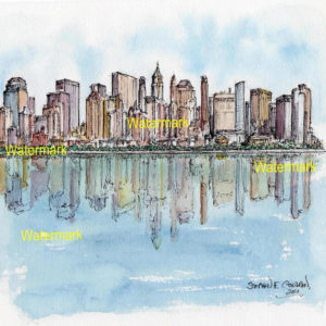 Watercolors and prints of downtown Manhattan Island.