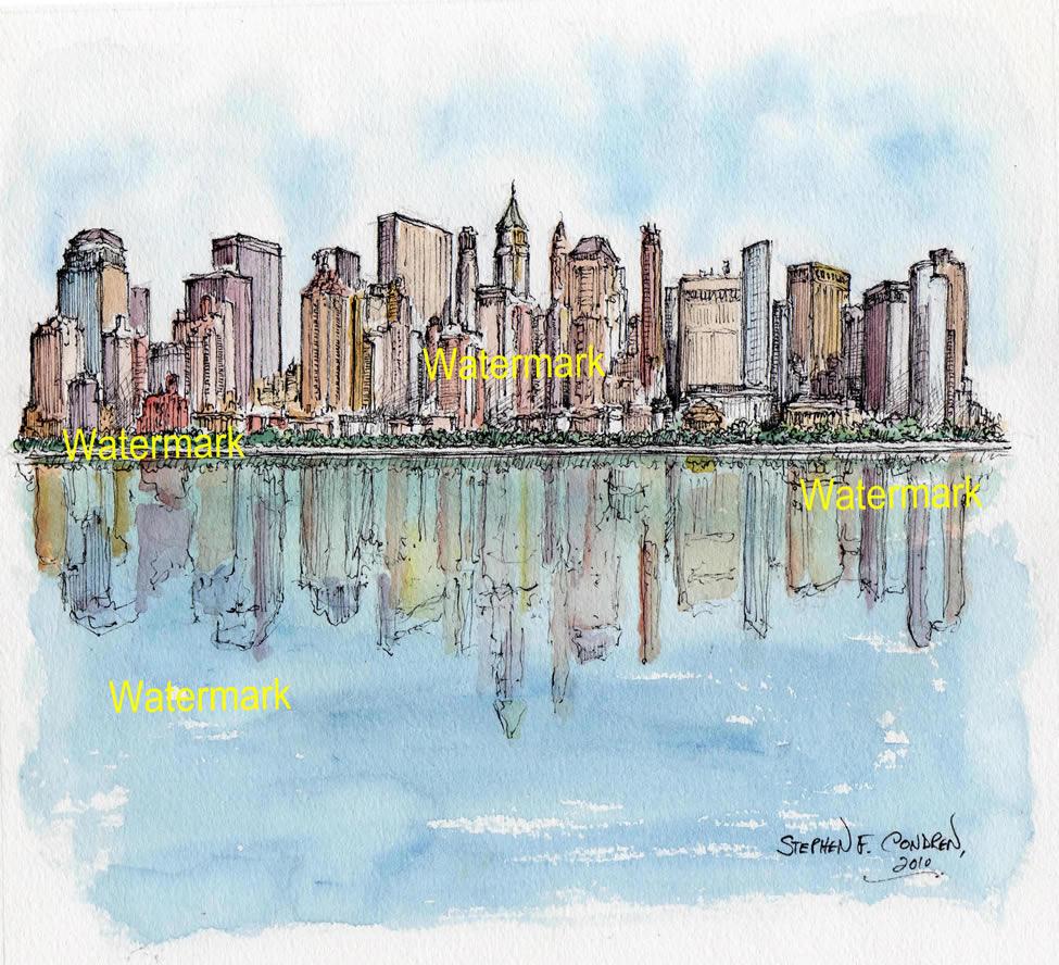 Lower Manhattan skyline watercolor of skyscrapers reflecting in water.