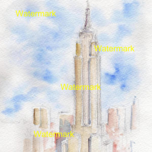 Empire State Building watercolor painting in midtown Manhattan.
