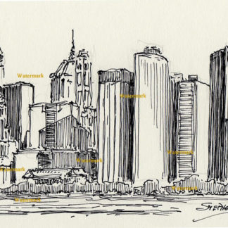 Manhattan skyline #833A pen & ink cityscape drawing with tall skyscrapers.