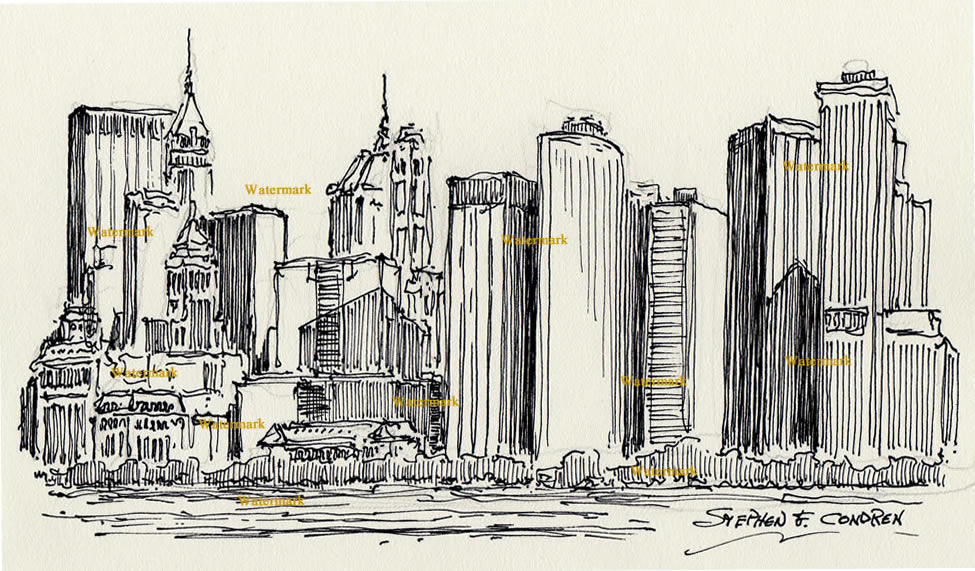 Manhattan skyline black pen & ink drawing of lower Manhattan skyscrapers.