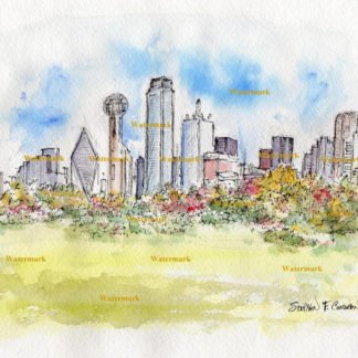 Dallas Skyline Watercolors