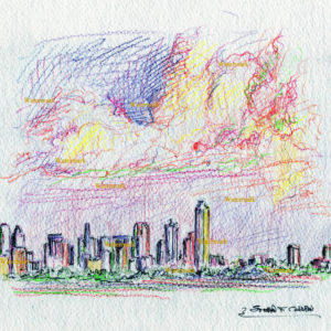 Color pencil drawings and prints of Dallas skyline.