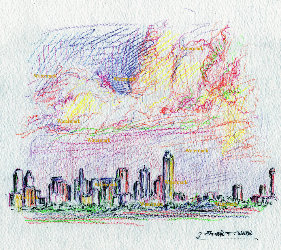 Dallas skyline color pencil drawing as sunset.