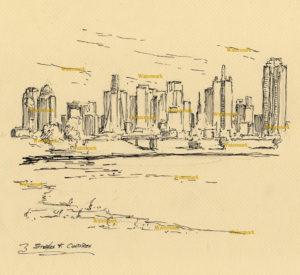 Dallas skyline pen & ink drawing overlooking Mountain Creek Lake.