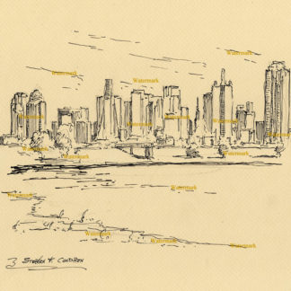 Dallas skyline #2853A pen & ink, cityscape drawing of downtown and Mountain Creek Lake.