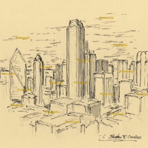 Pen & ink drawings and prints of Dallas skyline.