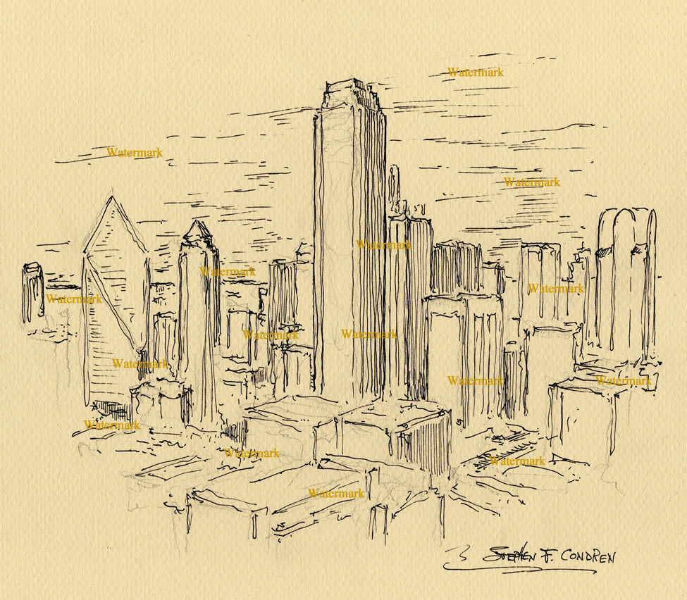 Dallas skyline pen & ink drawing of downtown skyscrapers.