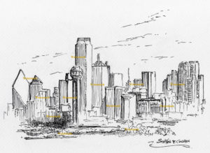 Dallas skyline pen & ink drawing of downtown with Reunion Tower.