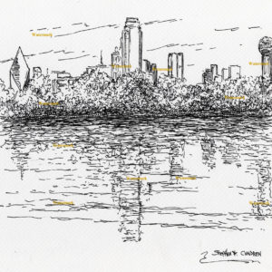 Black pen & ink drawings and prints of Dallas skyline.