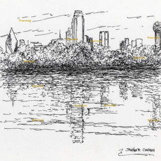 Dallas skyline #2860A pen & ink cityscape drawing of downtown by the Trinity River.