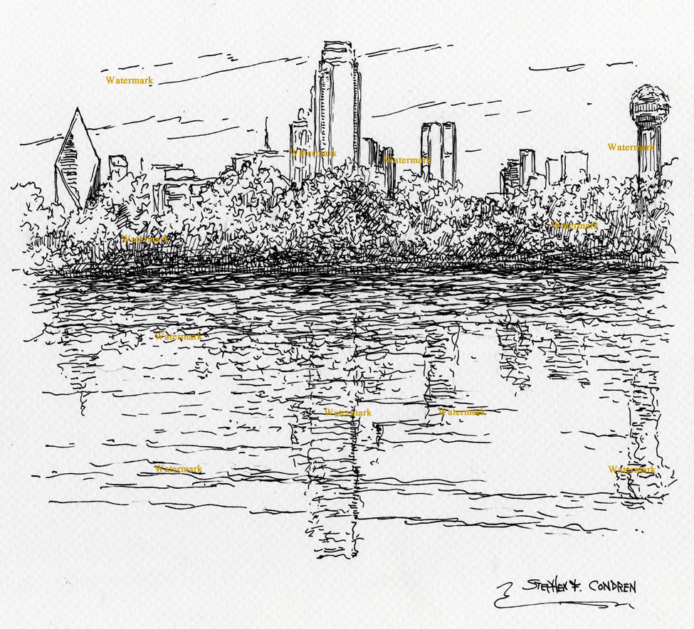 Pen & ink drawing of Dallas skyline as seen from the Trinity River.