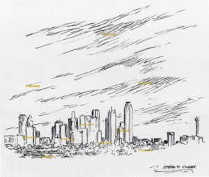 Dallas skyline pen & ink drawing of downtown with skyscrapers.