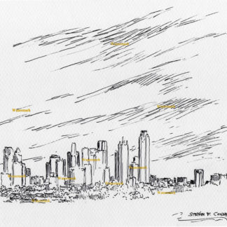 Dallas skyline #2861A pen & ink cityscape drawing of downtown.