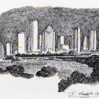 Houston skyline pen & ink drawing of downtown as seen from night.