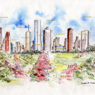 Houston Skyline Watercolors