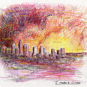Los Angeles Skyline Watercolors