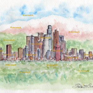 Los Angeles skyline watercolor painting of downtown with mountains.