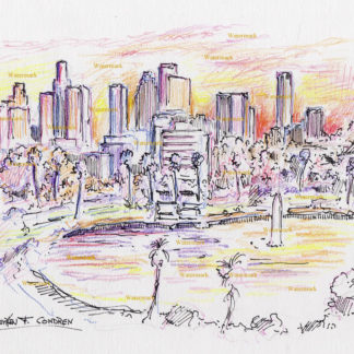 Los Angeles skyline #2721A pen & ink with color pencil drawing at sunset of downtown near Echo Lake Park.