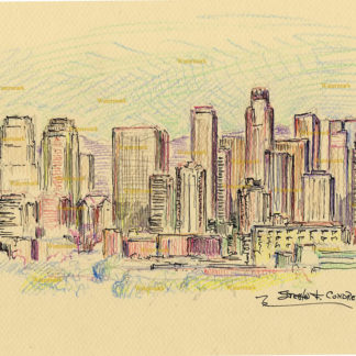 Los Angeles skyline #2727A color pencil cityscape drawing of downtown at dusk.