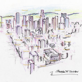 Los Angeles skyline #2740A color pencil, pen & ink, aerial view drawing of downtown.