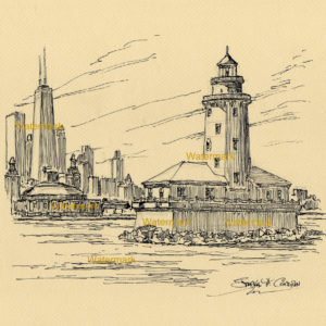 Chicago Harbor Lighthouse pen & ink drawing on Lake Michigan.